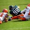 Philadelphia Eagles defensive end CONNOR BARWIN sacks Cleveland Brown's quarterback RG3