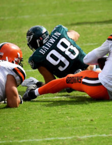 Philadelphia Eagles defensive end CONNOR BARWIN sacks Cleveland Brown's quarterback RG3