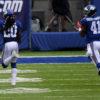 New York Giants cornerback JANORIS JENKINS returns a blocked field goal