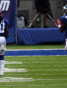 New York Giants cornerback JANORIS JENKINS returns a blocked field goal