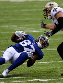 New York Giants rookie wide receiver STERLING SHEPARD runs for first down