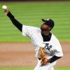 New York Yankees relief pitcher LUIS SEVERINO throwing strikes