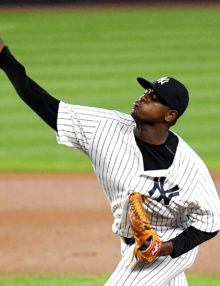 New York Yankees relief pitcher LUIS SEVERINO throwing strikes