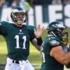 Philadelphia Eagles rookie quarterback,CARSON WENTZ, completes a pass to Darren Sproles
