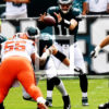 Philadelphia Eagles rookie quarterback CARSON WENTZ takes his first snap