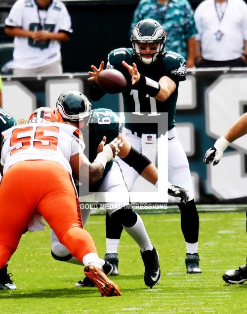 Philadelphia Eagles rookie quarterback CARSON WENTZ takes his first snap