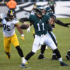 Philadelphia Eagles rookie quarterback,CARSON WENTZ, completes a pass in the third quarter