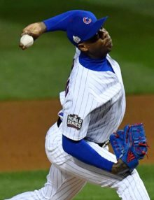 Chicago Cubs reliever AROLDIS CHAPMAN throws a strike