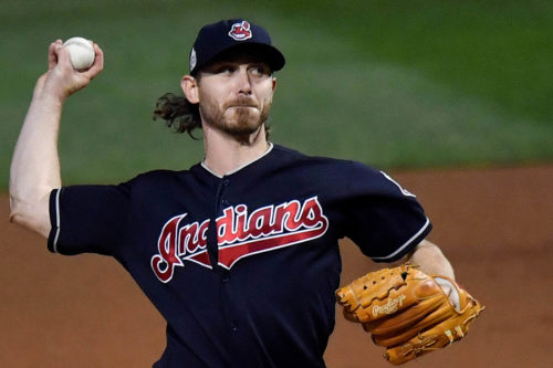 Cleveland Indians starting pitcher JOSH TOMLIN throws a strike