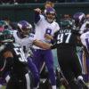 Minnesota Vikings quarterback SAM BRADFORD completes pass to tight end Kyle Rudulph