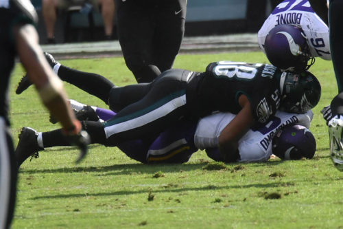 Eagles JORDAN HICKS sacks Vikings QB SAM BRADFORD
