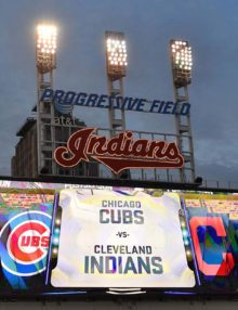 Progressilve Field Scoreboard for Game 7 of the World Series