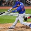 Chicago Cubs first baseman ANTHONY RIZZO doubles in the top of the fifth
