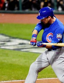 Chicago Cubs outfielder BEN ZOBRIST drives in the go ahead run