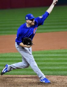Chicago Cubs relief pitcher MIKE MONTGOMERY throws most important pitch of year