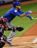 Chicago Cubs shortstop ADDISON RUSSELL doubles in the first inning