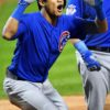 Chicago Cubs ADDISON RUSSELL celebrates hitting a grand slam home run