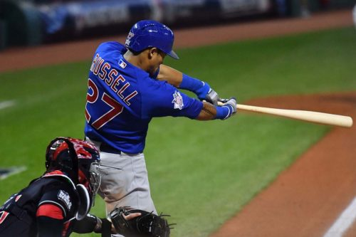 Chicago Cubs ADDISON RUSSELL hitting a grand slam home run