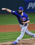 Chicago Cubs starting pitcher JAKE ARRIETA throws a strike