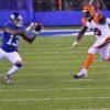 Giants ODELL BECKHAM JR. receives a pass from Eli Manning