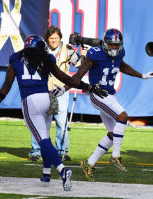 Giants ODELL BECKHAM JR celebrates scoring a touchdown