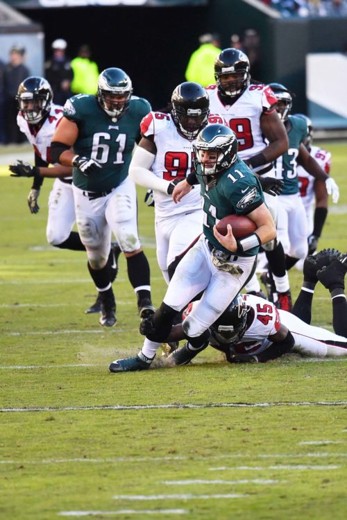 Eagles quarterback, CARSON WENTZ, takes off and runs for a first down