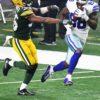 Dallas Cowboys wide receiver DEZ BRYANT receives a touchdown pass