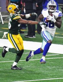 Dallas Cowboys wide receiver DEZ BRYANT receives a touchdown pass
