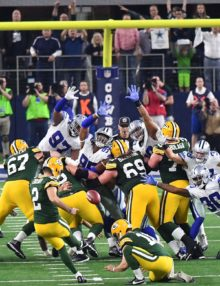 Green Bay Packers kicker MASON CROSBY kicks a 51 yard field goal