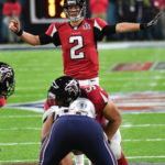 Atlanta Falcons quarteback Matt Ryan leads his team in Super Bowl LI