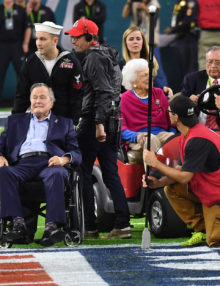 President George Bush Senior and Barbara Bush at Super Bowl LI