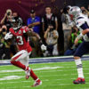 Atlanta Falcons ROBERT ALFORD intercepts a Tom Brady pass