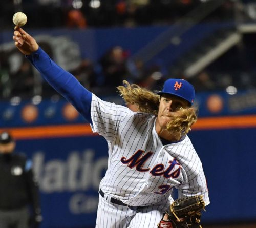 Mets starting pitcher Noah Syndergaard(Thor) throws his final(103rd) pitch of the game