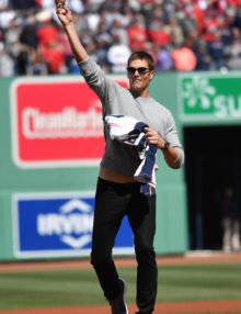 Super Bowl LI MVP Tom Brady throws out the first ceremonial pitch