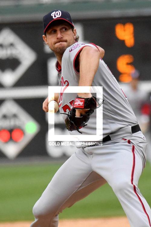 Washington Nationals starting pitcher Max Scherzer strikes out Phillies Howie Kendrick