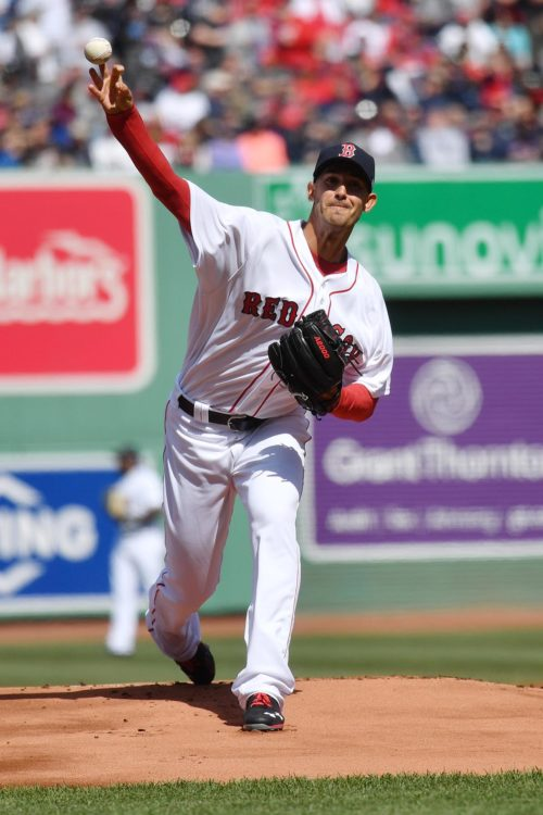 Boston Red Sox Rick Porcello throws the first pitch of the game