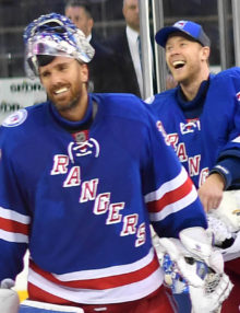 Rangers goalies, Henrik Lundqvist and Antti Raanta are all smiles