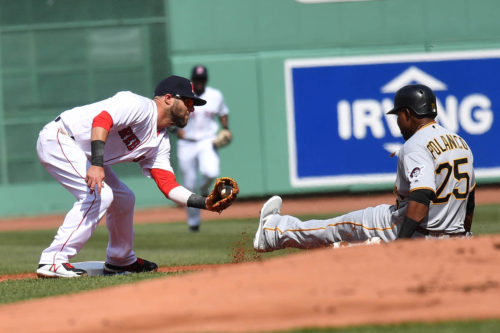 Boston Red Sox Dustin Pedroia tags out Pirates Gregory Polacano