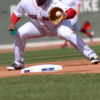Boston Red Sox third baseman Pablo Sandova fields ground ball