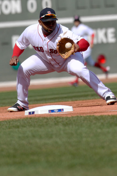 Boston Red Sox third baseman Pablo Sandova fields ground ball