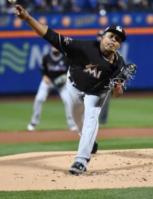 Miami Marlins starting pitcher Edinson Volquez throws a strike