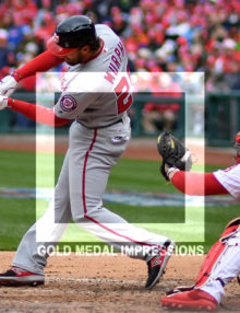 Washington Nationals second baseman Daniel Murphy homers in the third