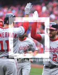 Washington Nationals second baseman, Daniel Murphy, receives a high five