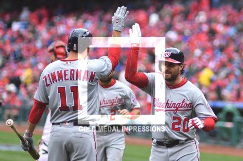 Washington Nationals second baseman, Daniel Murphy, receives a high five