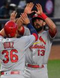 Cardinals first baseman Matt Carpenter receives high fives