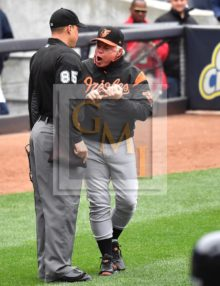 Baltimore Orioles manager Buck Showalter vigorously argues a balk call