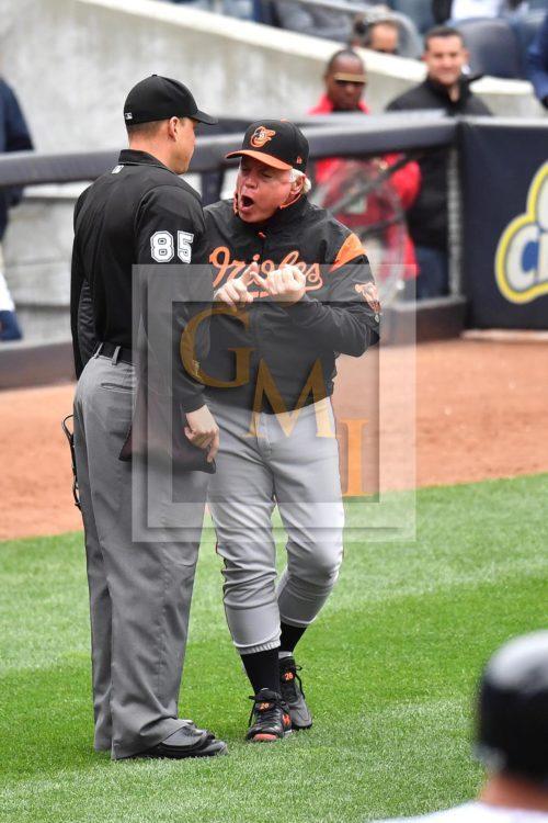 Baltimore Orioles manager Buck Showalter vigorously argues a balk call