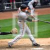 Baltimore Orioles outfielder Mark Trumbo hits a go-ahead single