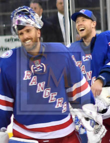 Rangers goalies Henrik Lundqvist and Antti Raanta are all smiles