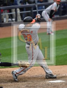 Baltimore Orioles catcher Welington Castillo singles